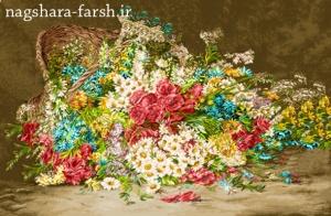 نخ و نقشه آماده گل و گلدان (سبد گل افتاده)
